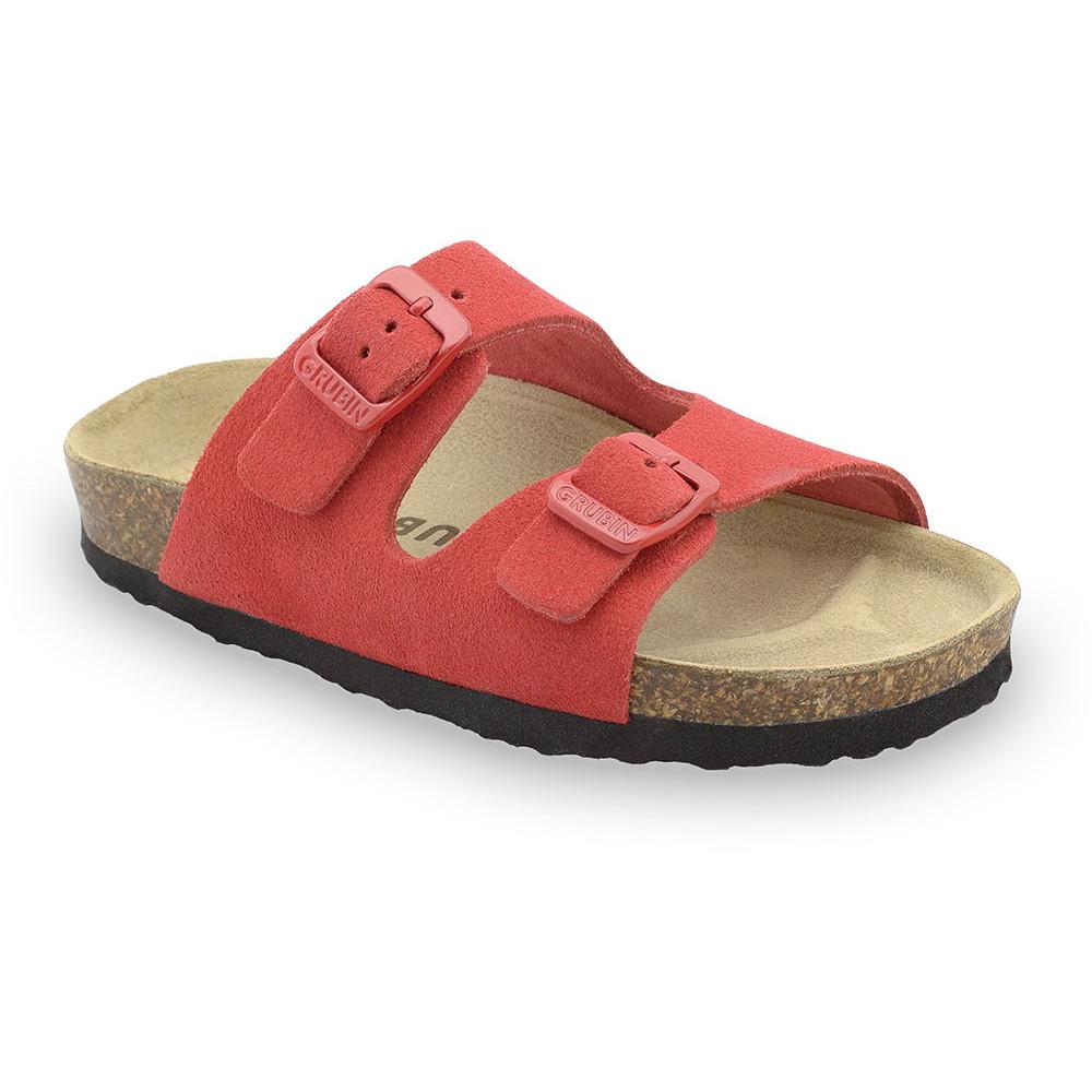 ARIZONA Kinder Lederpantoffeln - Veloursleder (30-35) - rot, 32