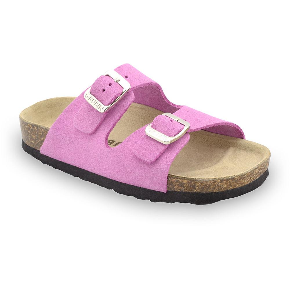 ARIZONA Kinder Lederpantoffeln - Veloursleder (30-35) - rosa, 32