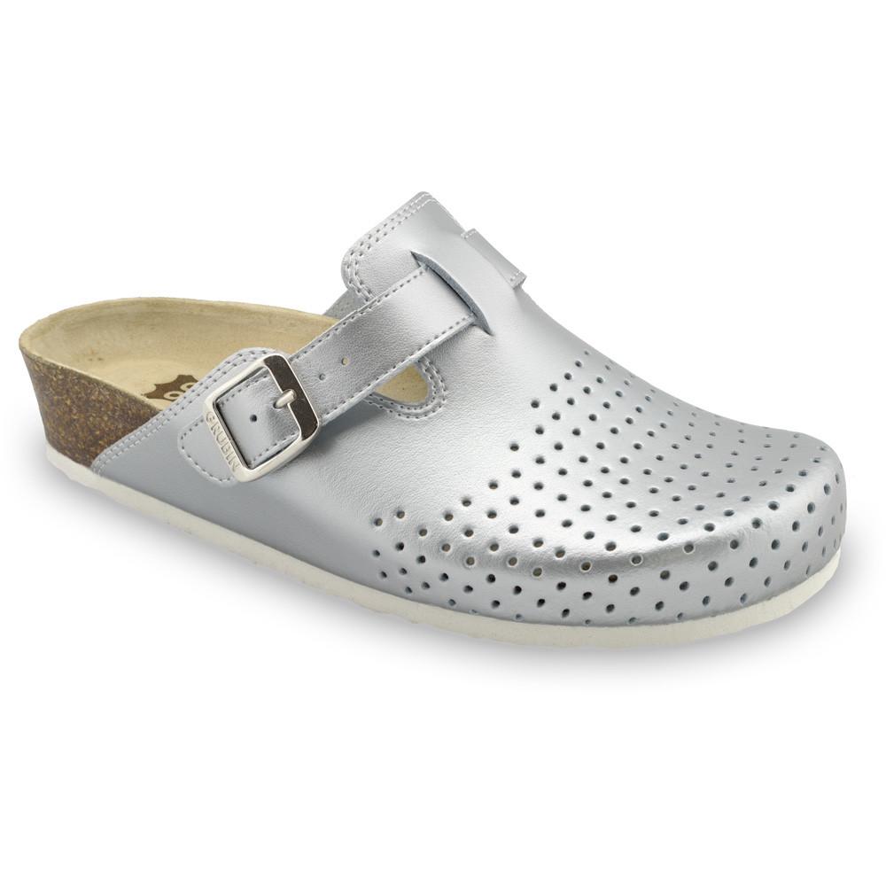BEOGRAD Geschlossene Pantoffeln für Damen - Leder Kast (36-42) - Silber, 42