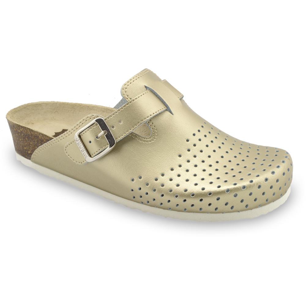 BEOGRAD Geschlossene Pantoffeln für Damen - Leder Kast (36-42) - Gold, 38