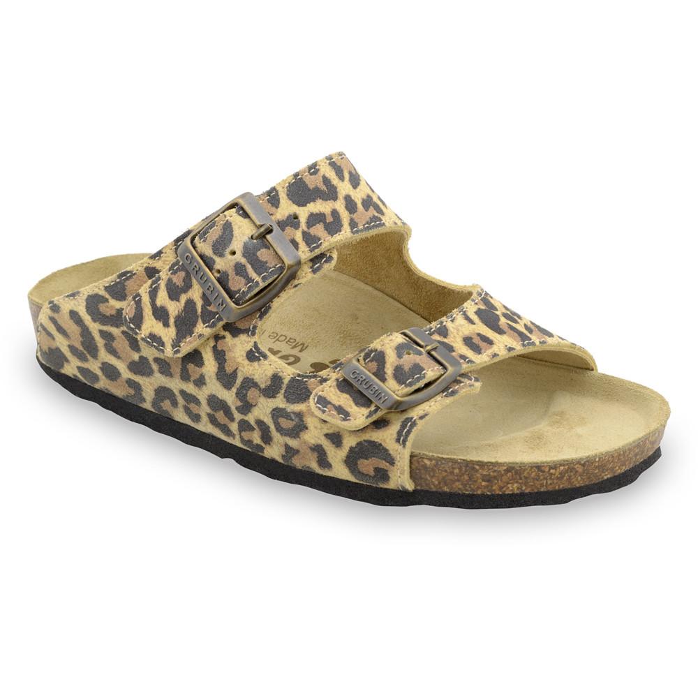 KAIRO Pantoffeln für Damen - Leder (36-42) - Leopard, 36