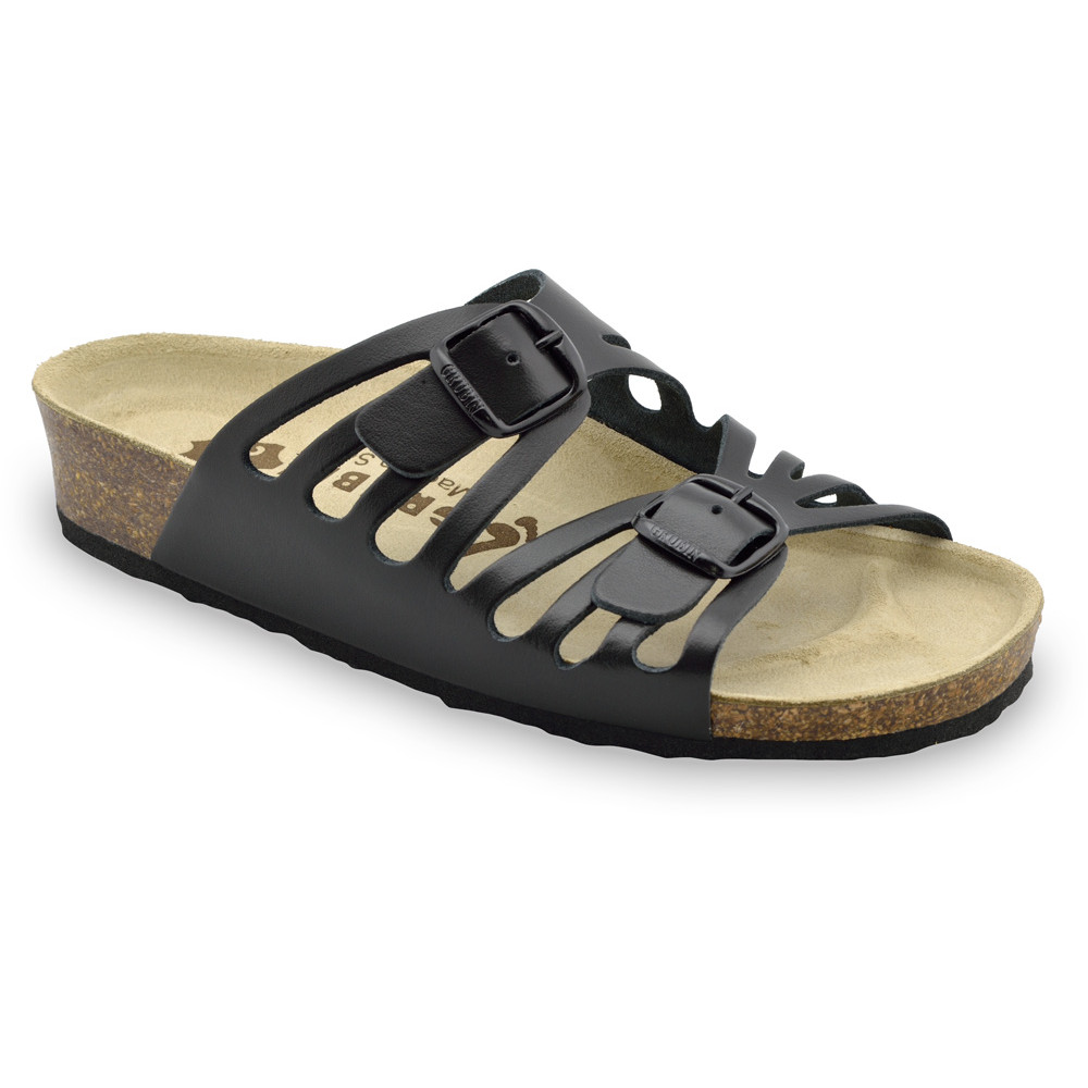 DERBY Pantoffeln für Damen - Leder (36-42) - schwartz, 36