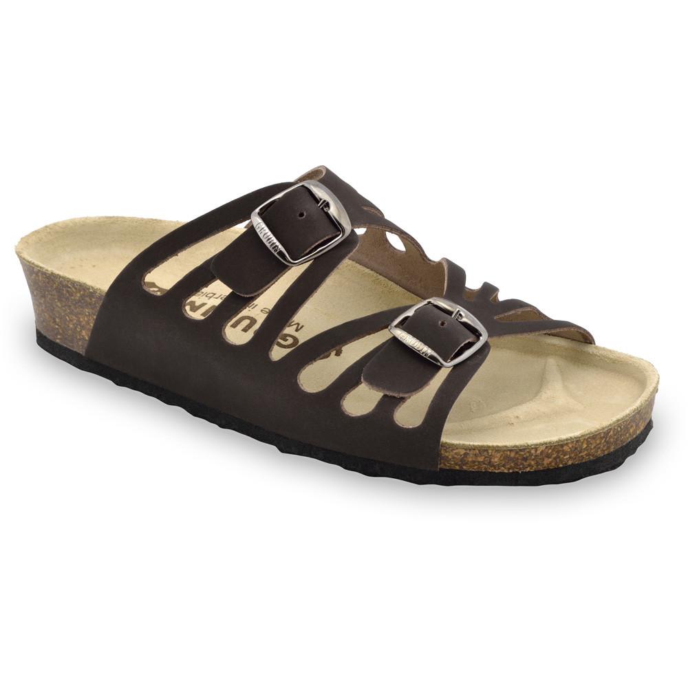 DERBY Pantoffeln für Damen - Leder (36-42) - schwarz mit Muster, 38