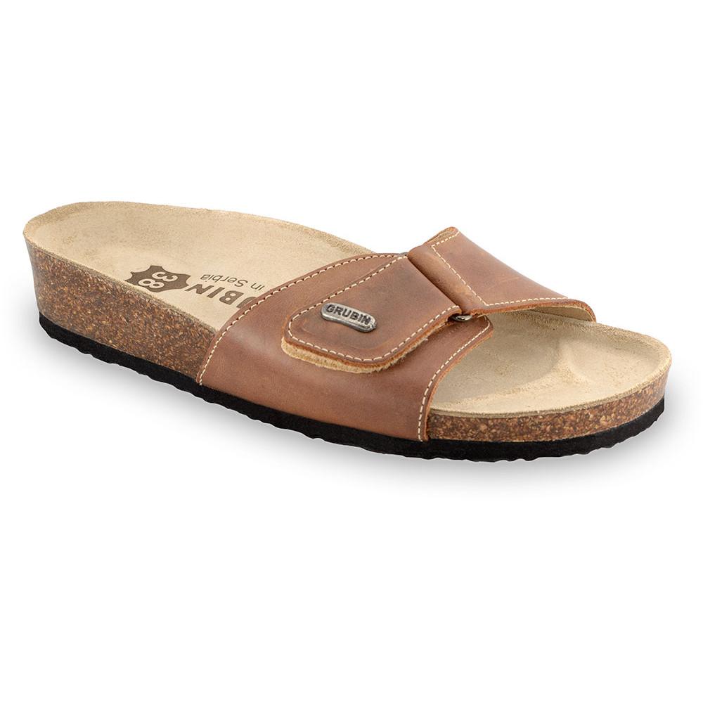 BRIGITTE Pantoffeln für Damen - Leder (36-42) - hellbraun, 37