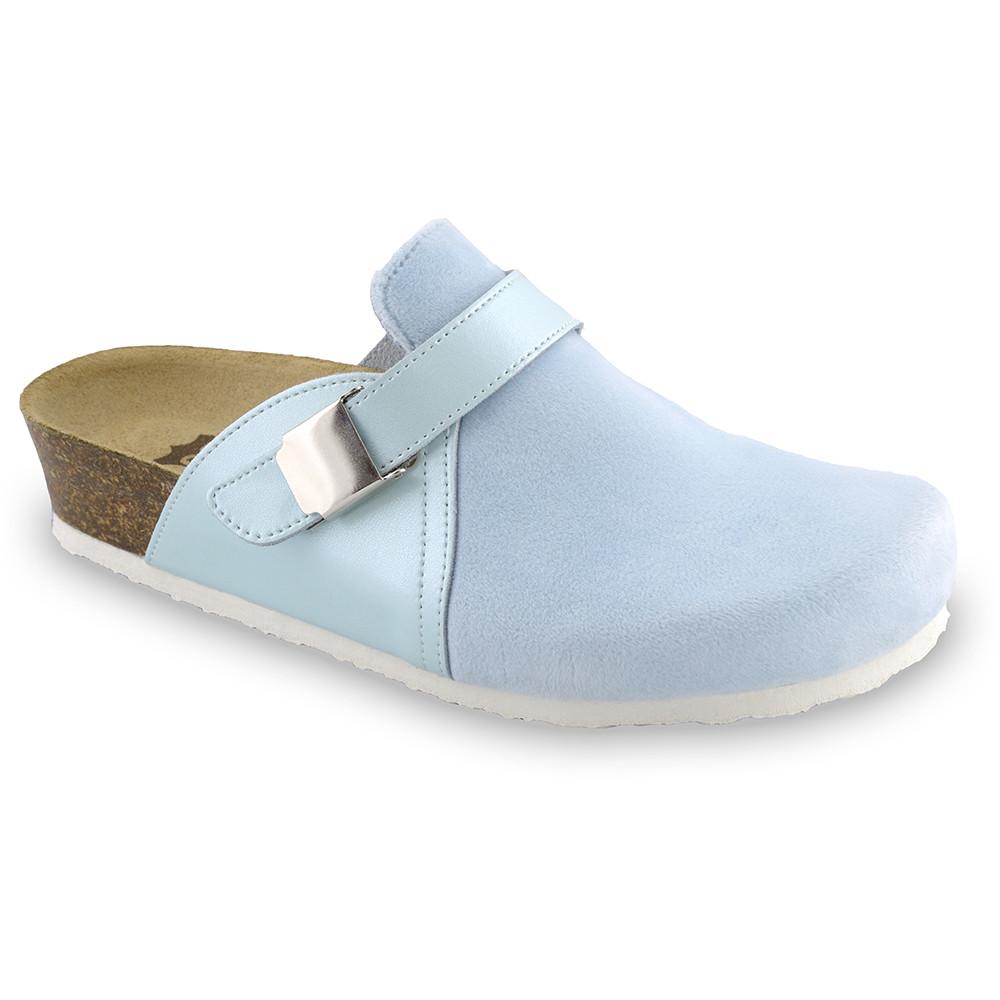 INDIO Geschlossene Pantoffeln für Damen - Plüsch (36-42) - hellblau, 38