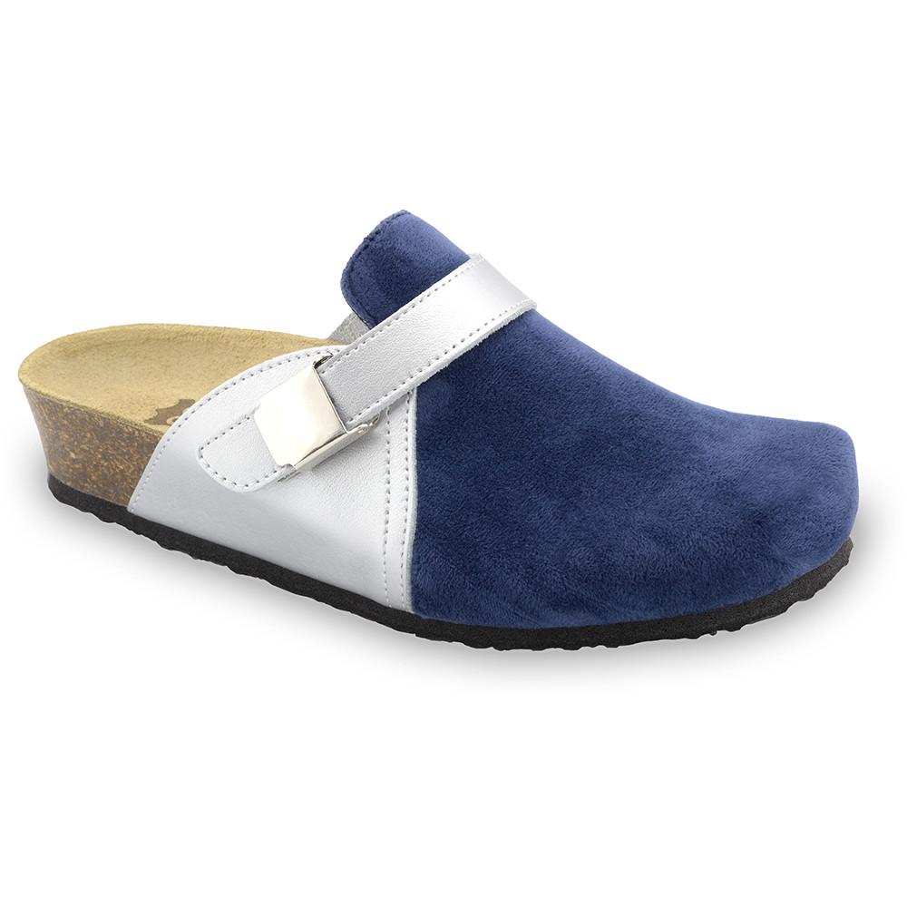 INDIO Geschlossene Pantoffeln für Damen - Plüsch (36-42) - blau, 38