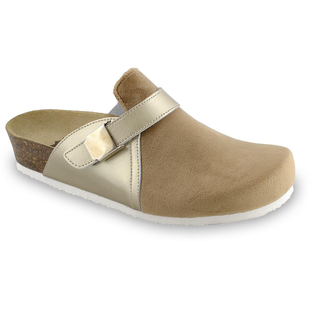 INDIO Geschlossene Pantoffeln für Damen - Plüsch (36-42) - Gold, 39
