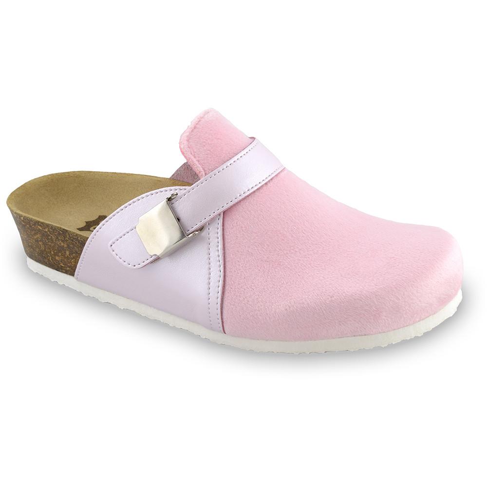 INDIO Geschlossene Pantoffeln für Damen - Plüsch (36-42) - rosa, 36