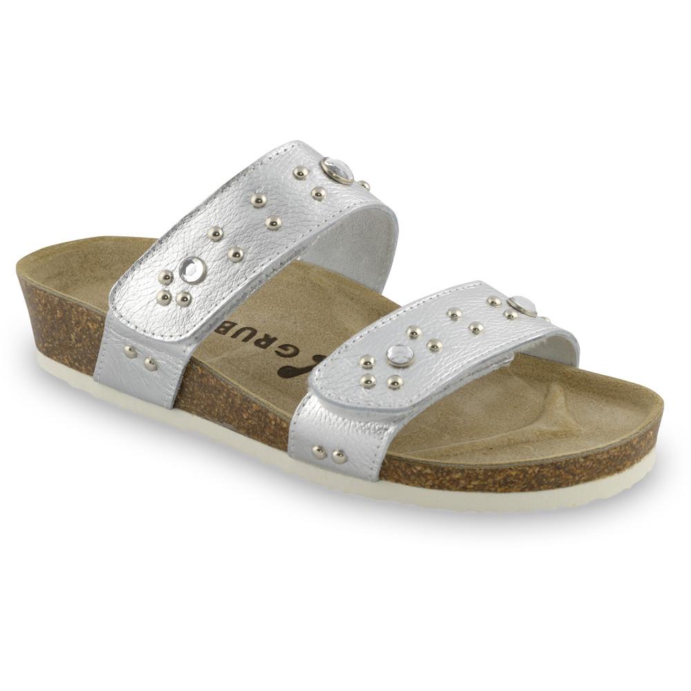 MALTA Pantoffeln für Damen - Leder (36-42) - Silber, 36
