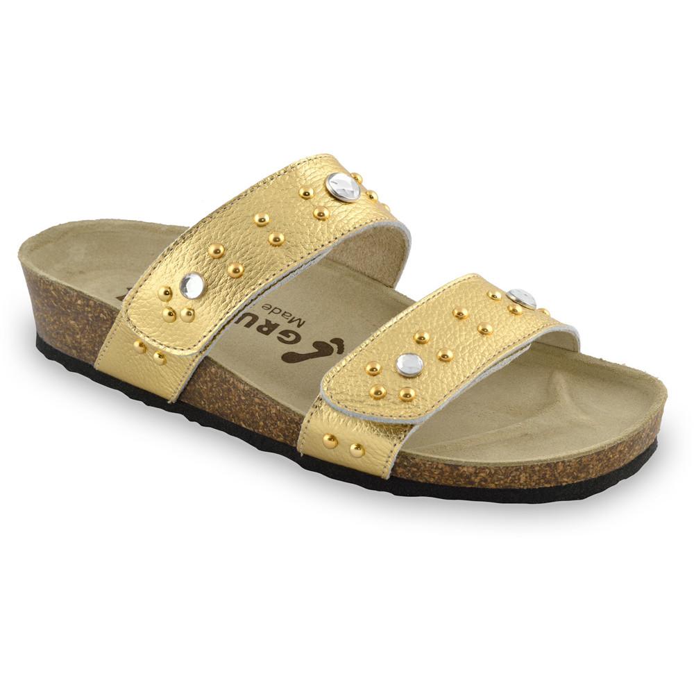 MALTA Pantoffeln für Damen - Leder (36-42) - Gold, 38