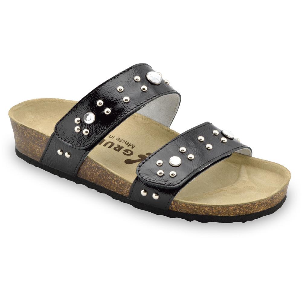MALTA Pantoffeln für Damen - Leder (36-42) - schwarz mit Muster, 36