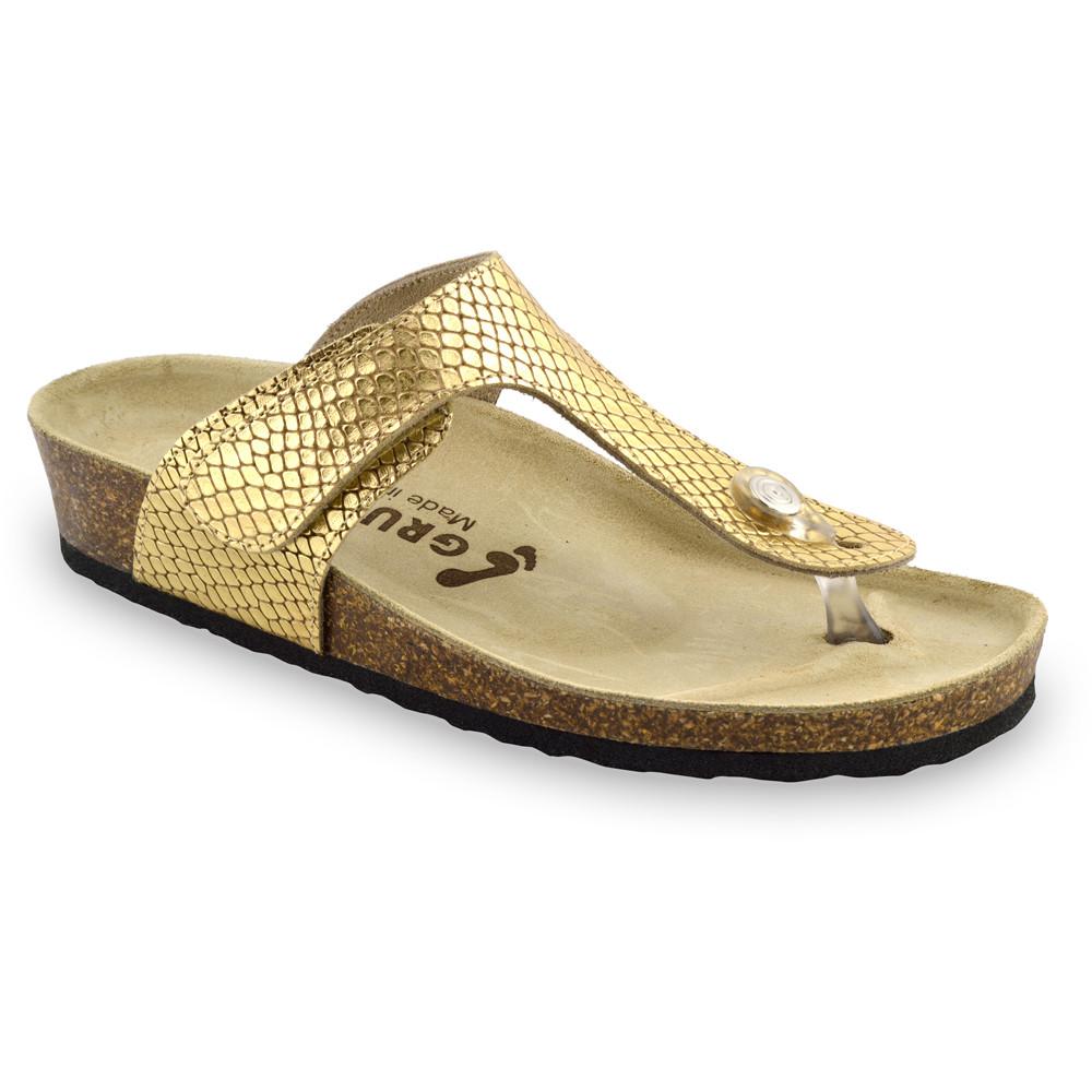 TAKOMA Damen Lederflipflops (36-42) - goldene Viper, 39