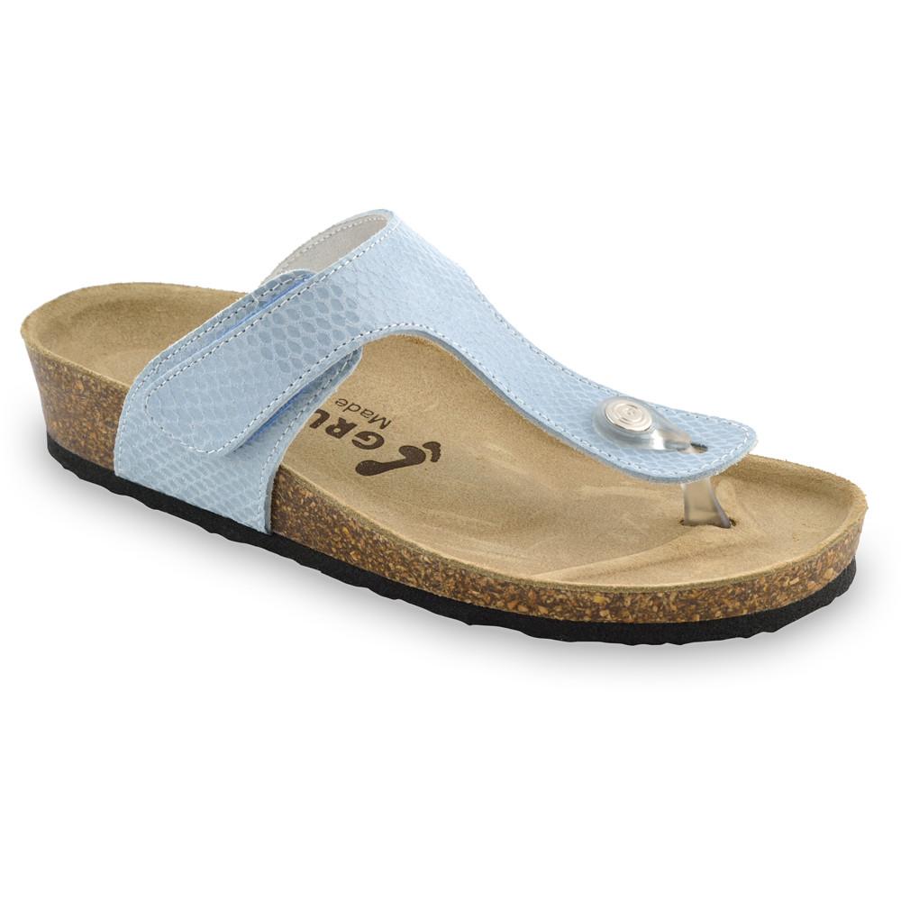 TAKOMA Damen Lederflipflops (36-42) - blaue Viper, 41