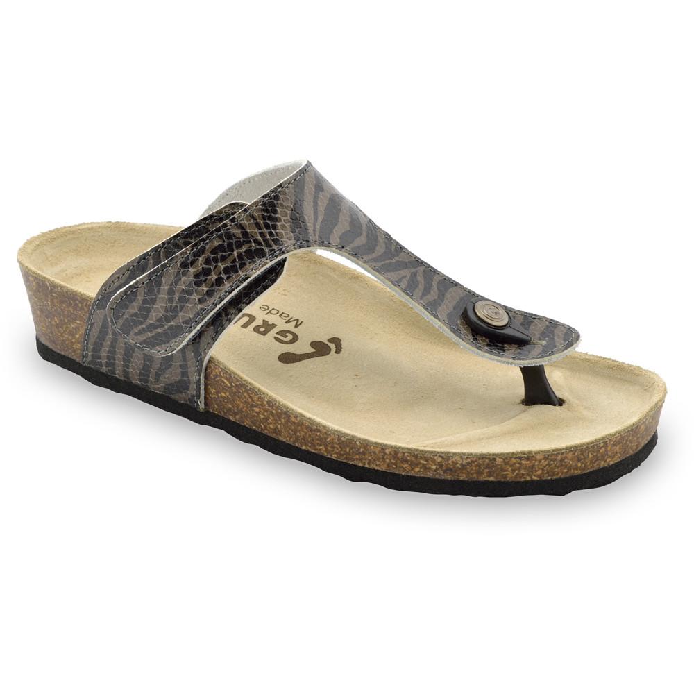TAKOMA Damen Lederflipflops (36-42) - schwarz mit Muster, 38
