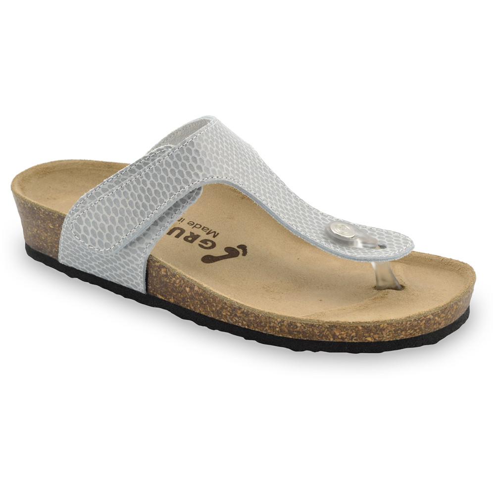 TAKOMA Damen Lederflipflops (36-42) - graue Viper, 42