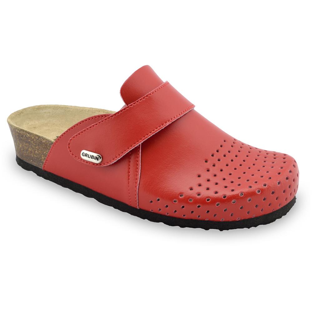OREGON Geschlossene Pantoffeln für Damen - Leder (36-42) - rot, 37