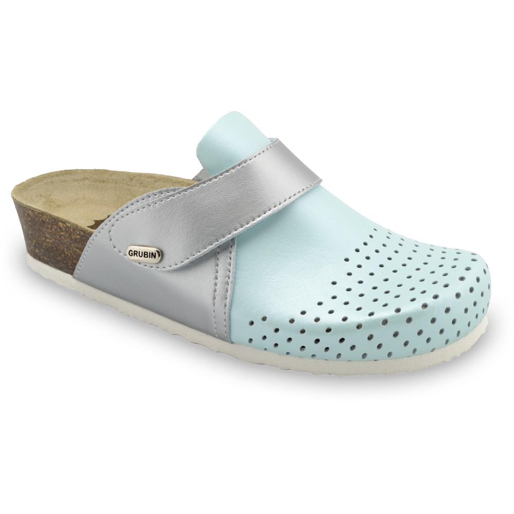 OREGON Geschlossene Pantoffeln für Damen - Leder Kast (36-42) - hellblau, 40