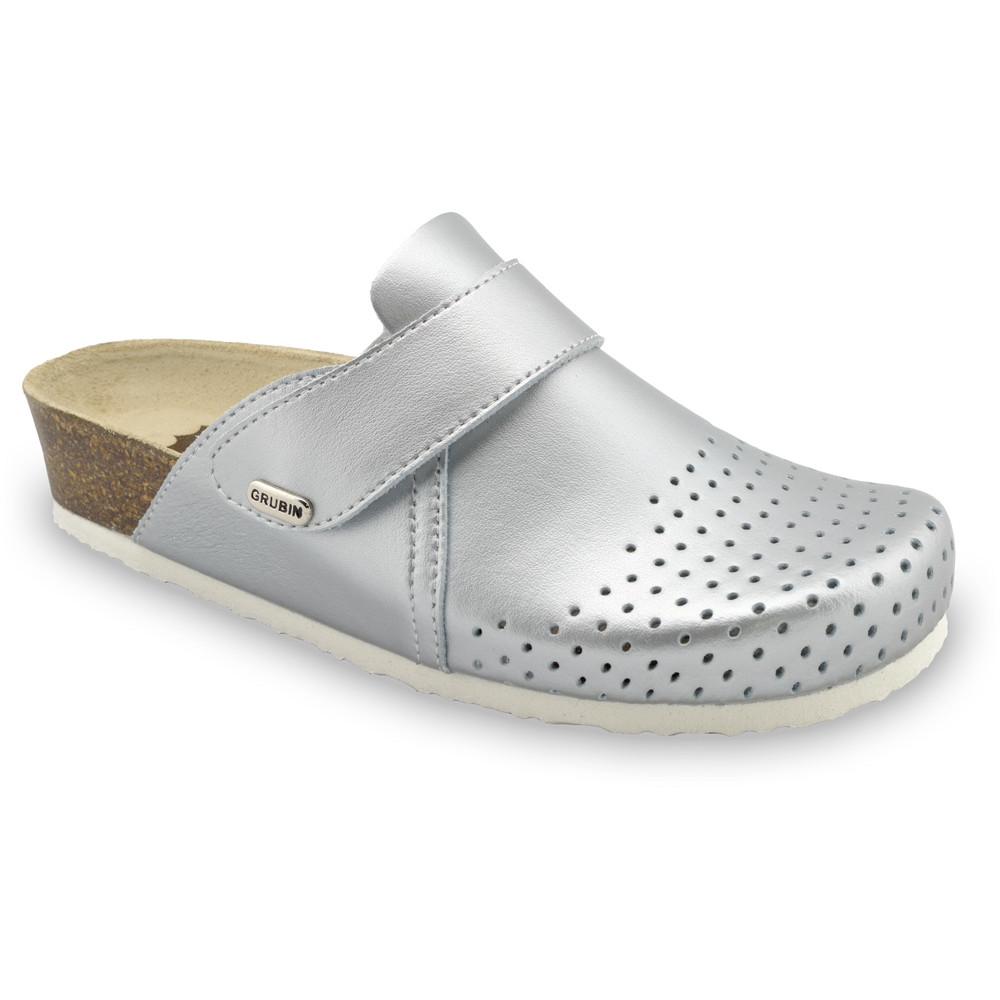 OREGON Geschlossene Pantoffeln für Damen - Leder Kast (36-42) - Silber, 38