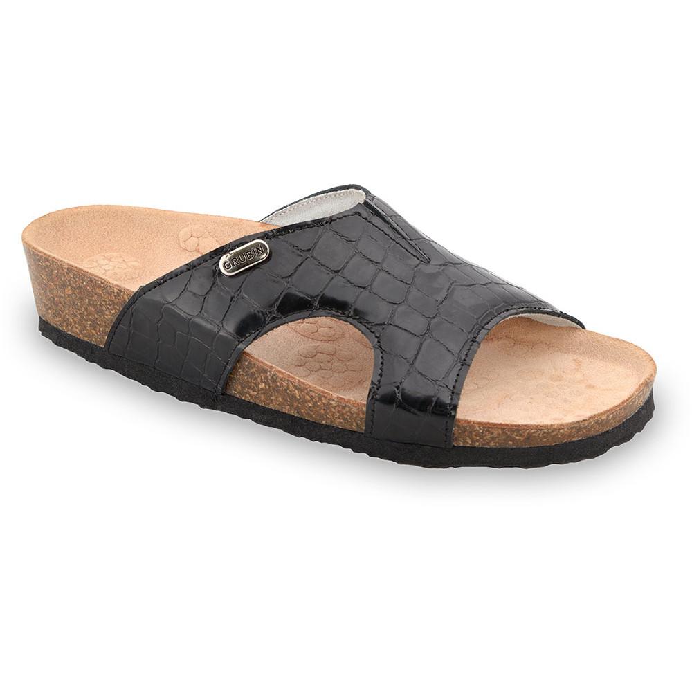 MARTINA Pantoffeln für Damen - Leder (37-41) - schwarz mit Muster, 38