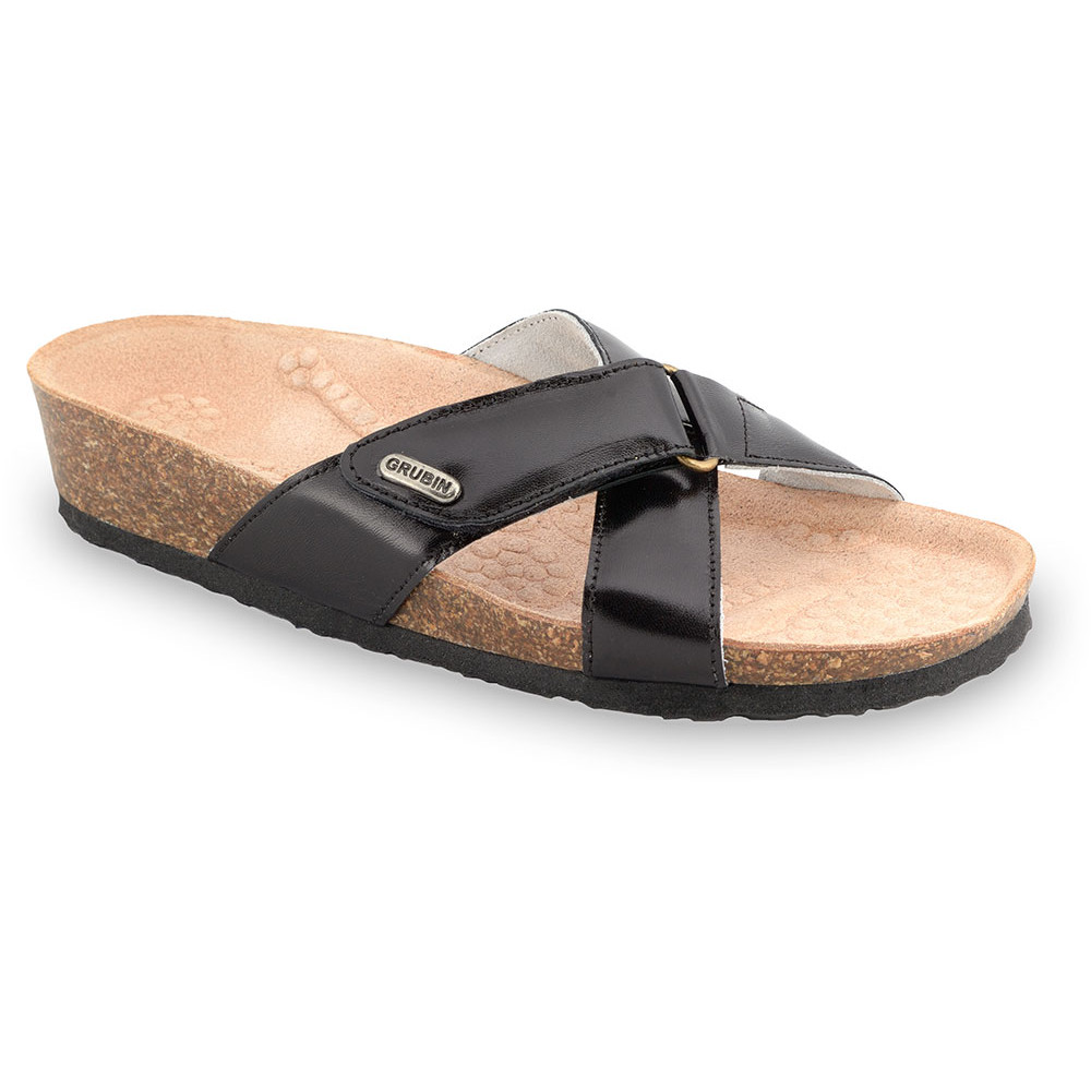 EMILIANA Pantoffeln für Damen - Leder (37-41) - schwartz, 40