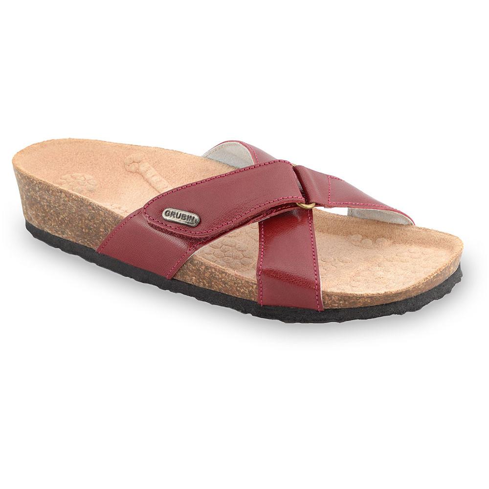 EMILIANA Pantoffeln für Damen - Leder (37-41) - rot, 37