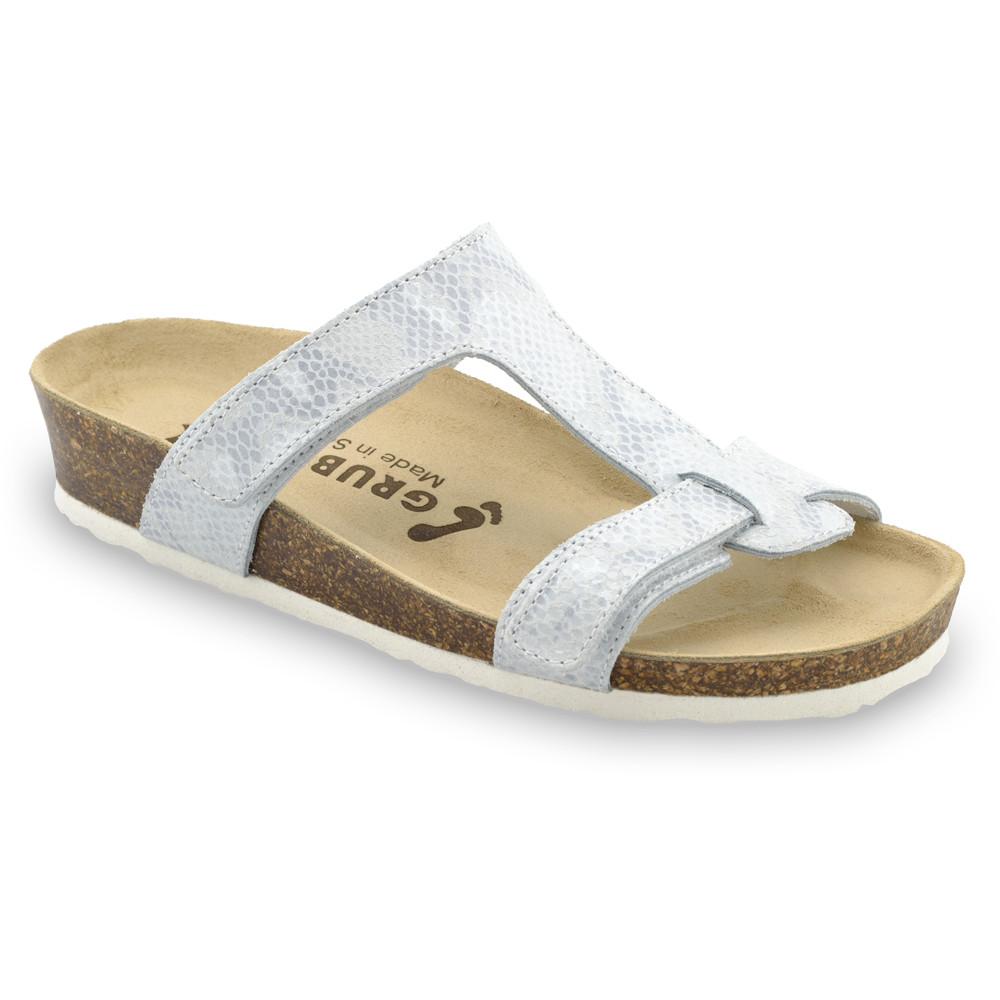 RIMINI Pantoffeln für Damen - Leder (36-42) - hellblaue Viper, 36