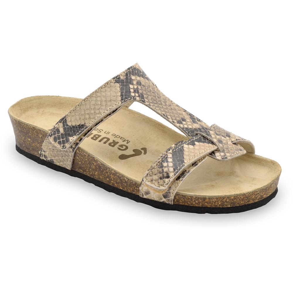 RIMINI Pantoffeln für Damen - Leder (36-42) - braune Viper, 37