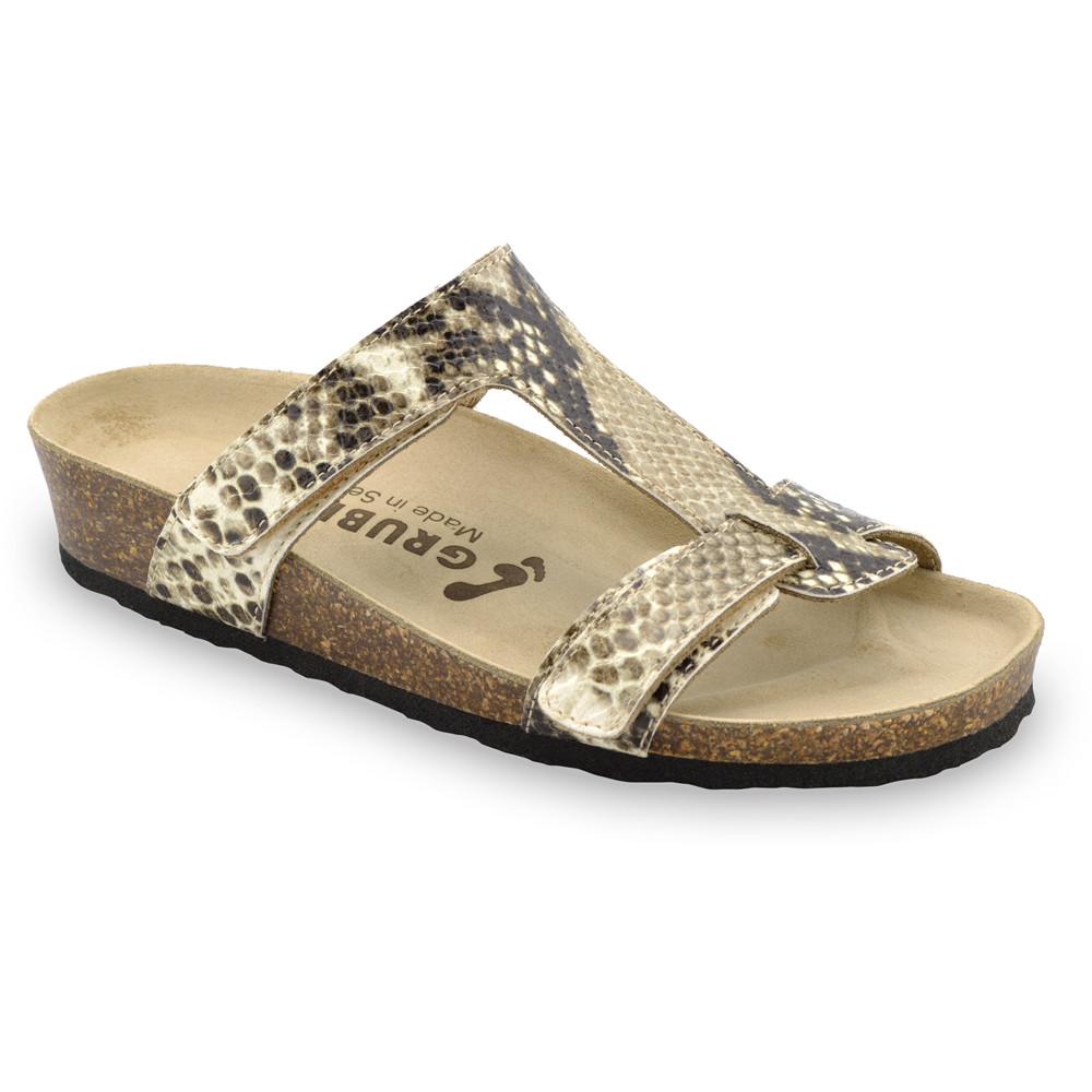 RIMINI Pantoffeln für Damen - Leder (36-42) - creme Viper, 36