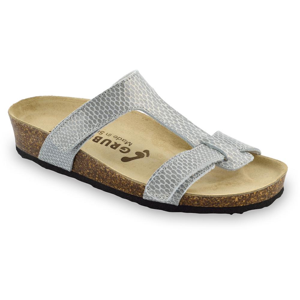 RIMINI Pantoffeln für Damen - Leder (36-42) - graue Viper, 37