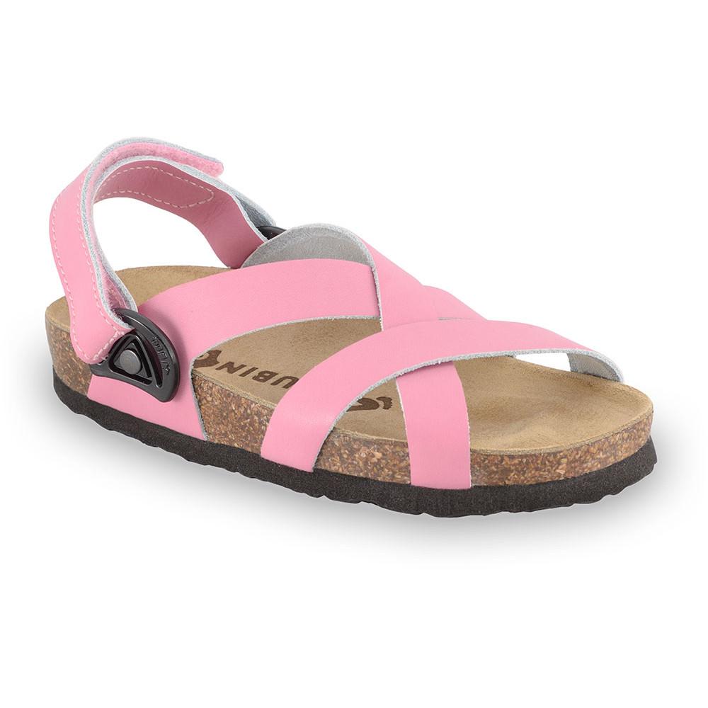 PITAGORA Sandalen für Kinder - Leder Nubuk-Kast (23-29) - rosa, 28