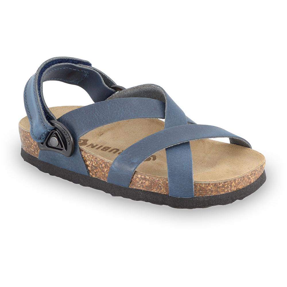 PITAGORA Sandalen für Kinder - Leder Nubuk-Kast (30-35) - blau, 30