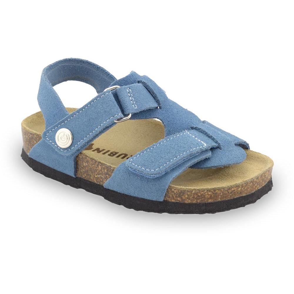ROTONDA Kinder Ledersandalen - Veloursleder (23-29) - hellblau, 25