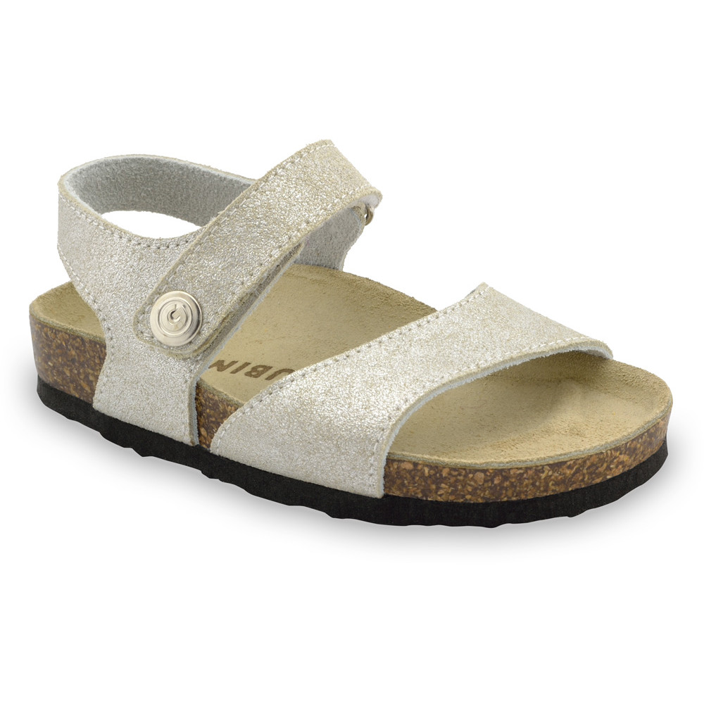 LEONARDO Sandalen für Kinder - Leder (23-29) - Silber, 27