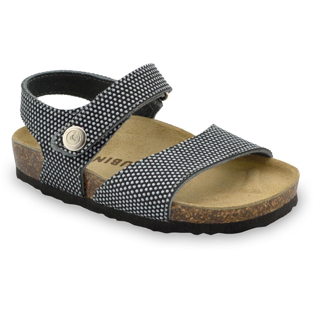 LEONARDO Sandalen für Kinder - Leder Kast (30-35) - schwarz mit Muster, 33