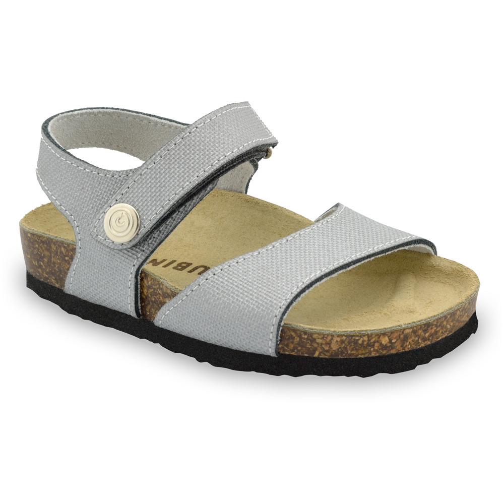 LEONARDO Sandalen für Kinder - Leder Kast (30-35) - grau, 35