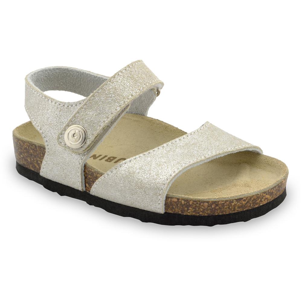 LEONARDO Sandalen für Kinder - Leder (30-35) - Silber, 33