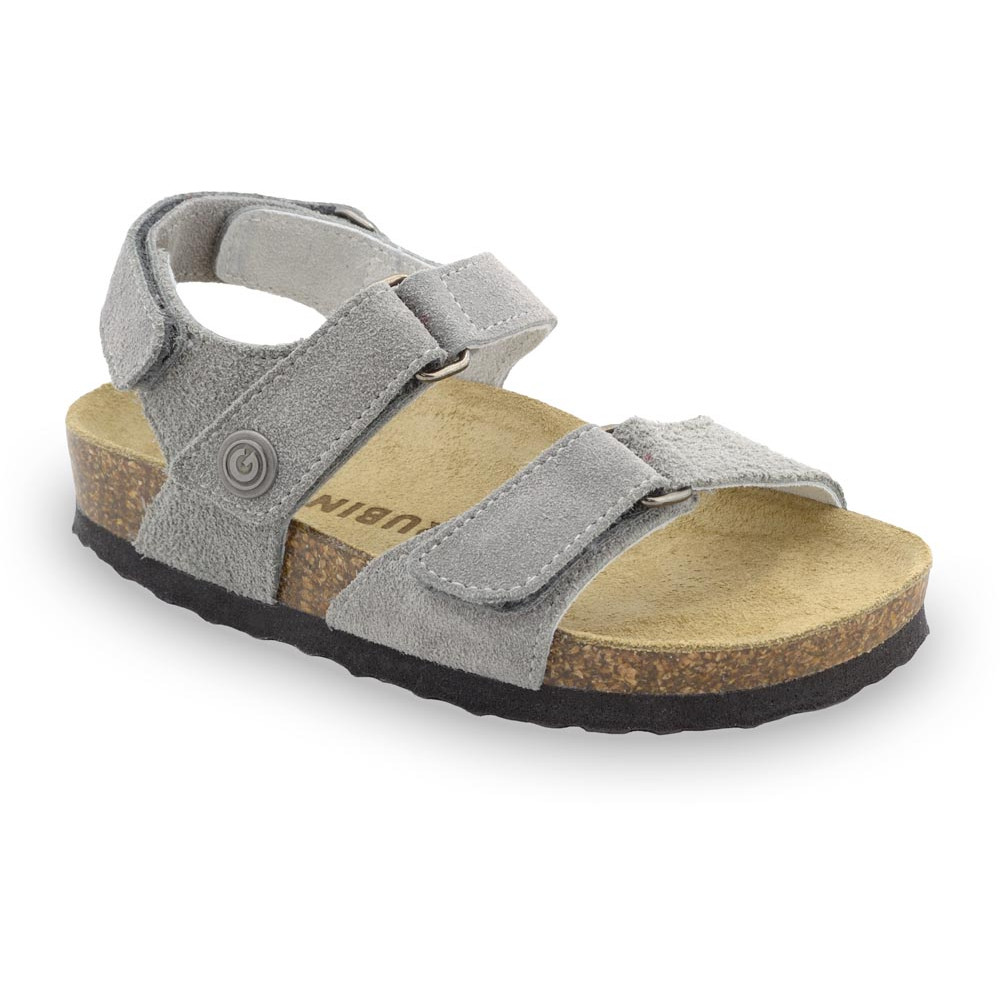 DONATELO Sandalen für Kinder - Veloursleder (23-29) - grau, 24